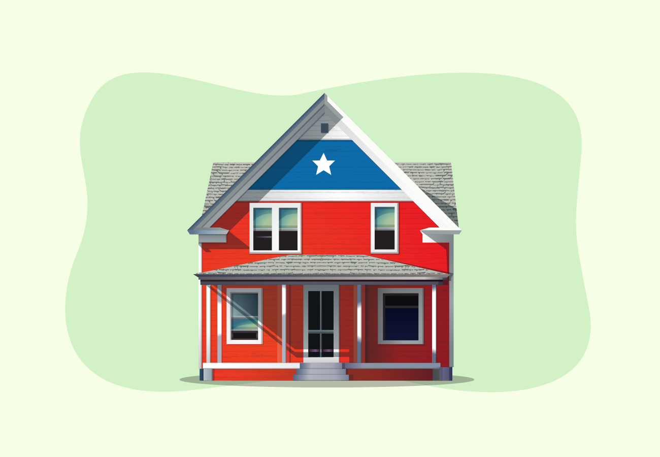 House with american flag theme.