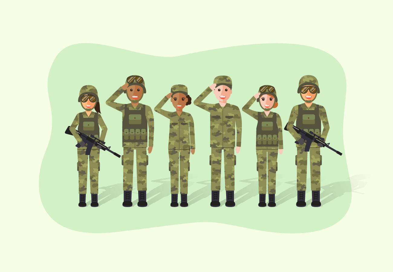 Soldiers doing salute.