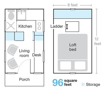 Tiny House 96-sq. feet layout