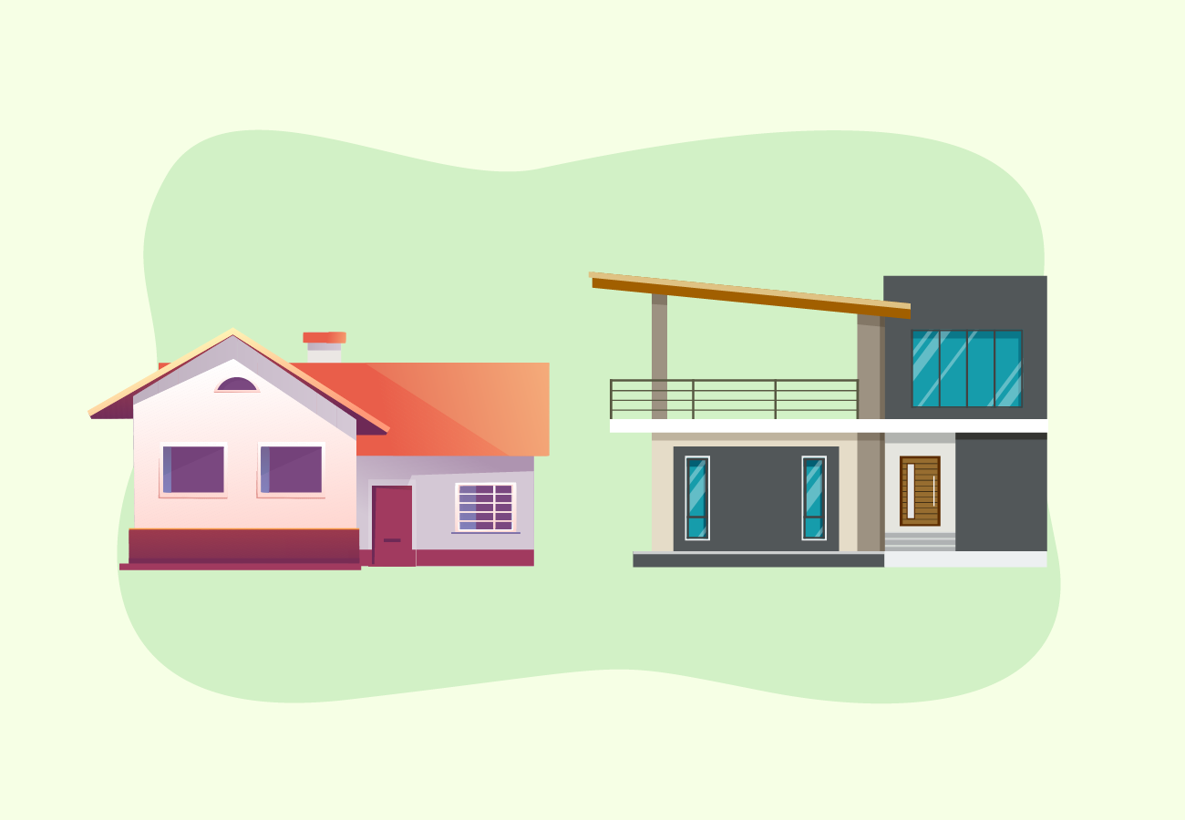 Traditional versus modern houses.